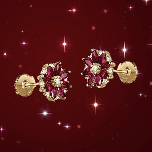 Marquise Cut Ruby Flower Studs, SILVER YULAN