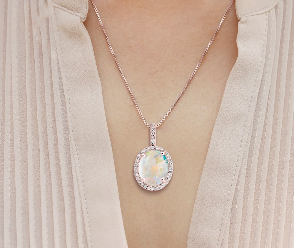14kt Rose Gold Opal and Diamond Pendant - Oval