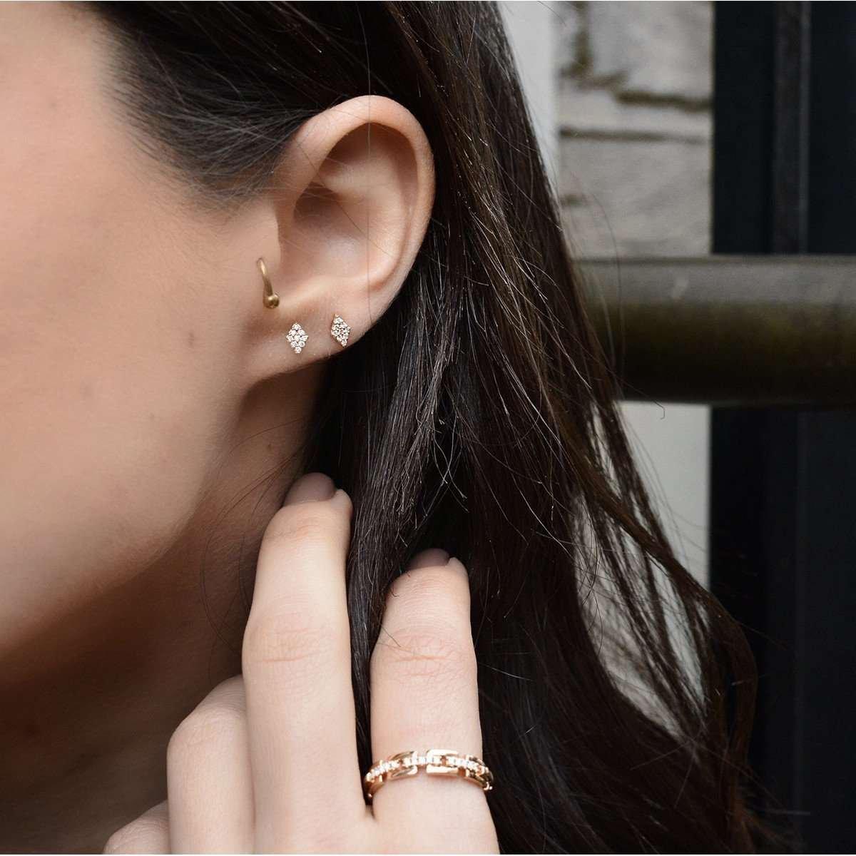 14kt Rose Gold & Diamond Duke Stud Earring - Jezebel London
