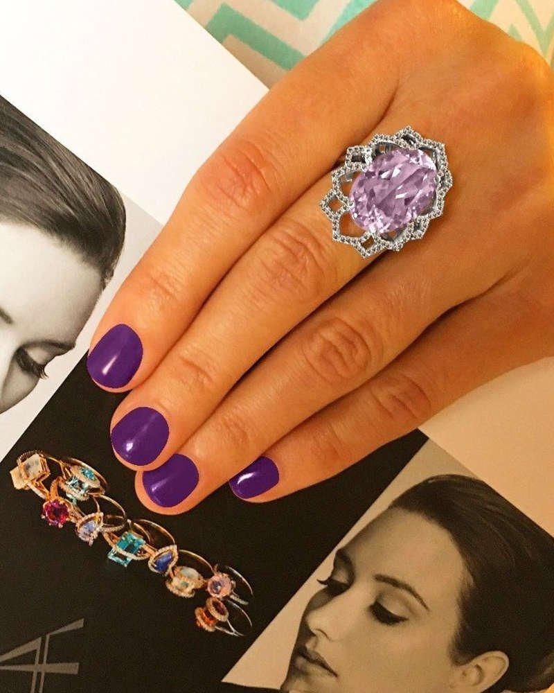 Oval Amethyst and Champagne Diamond Ring - Arya Esha