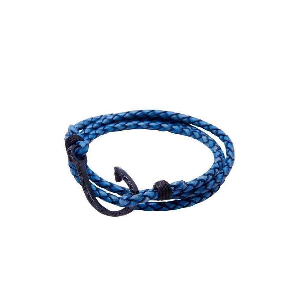 Blue Leather Bracelet with Black Hook Lock - Nialaya