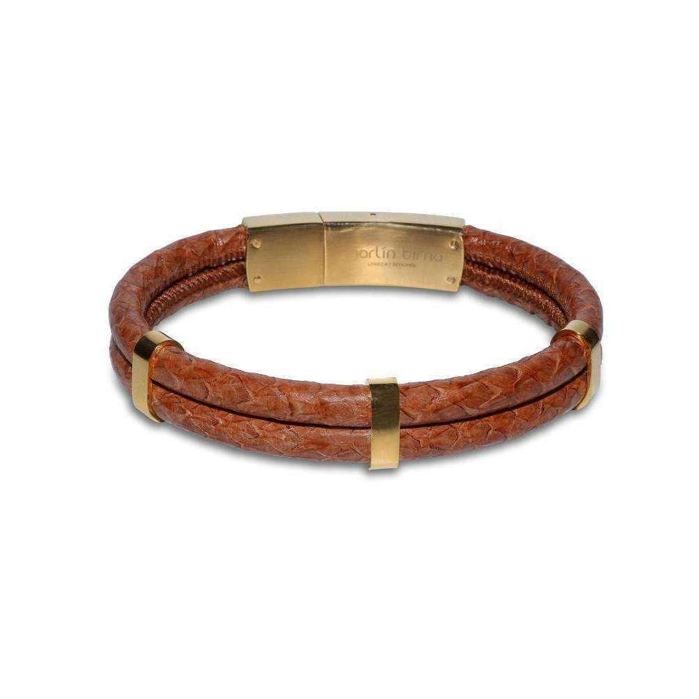 Cognac Atlantic Salmon Leather Gold Plated Bracelet - Marlin Birna