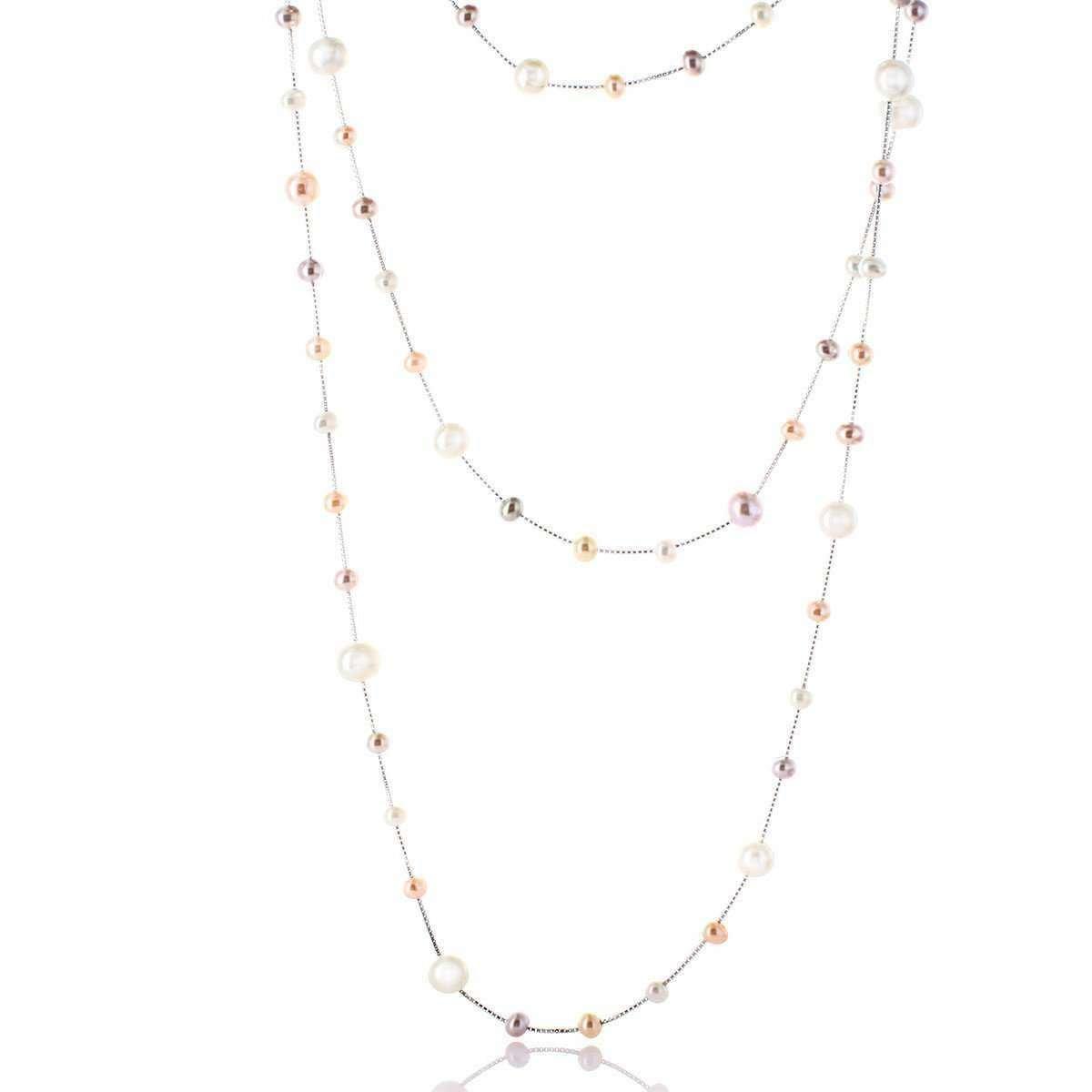 Multi-colour Freshwater Pearl Silver Rope Necklace - Brian Gavin Diamonds