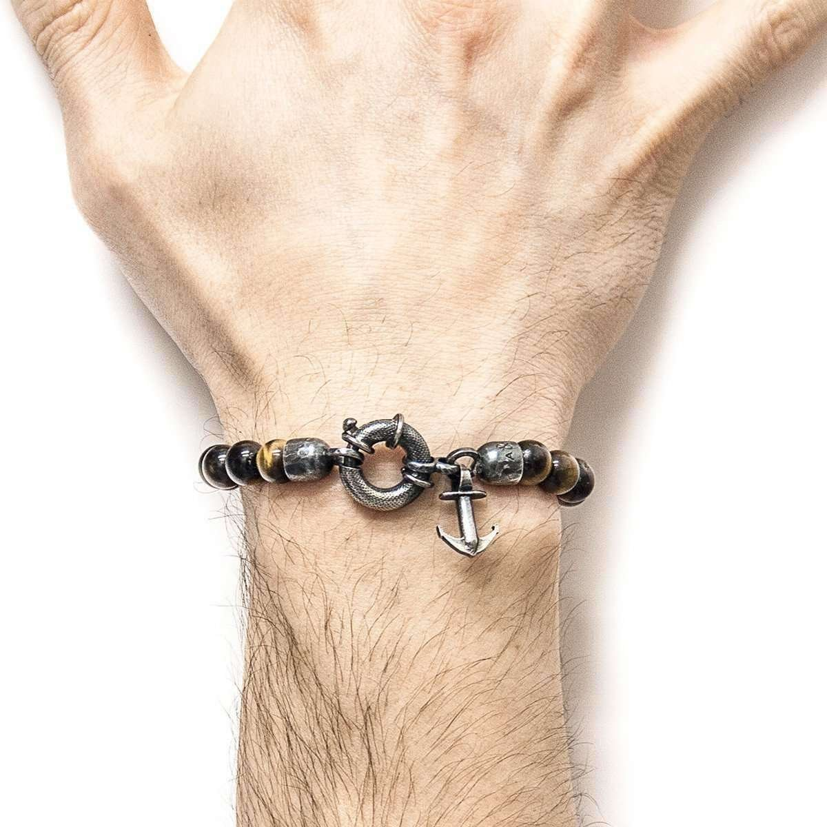 Brown Tigers Eye Port Silver And Stone Bracelet -  Anchor & Crew
