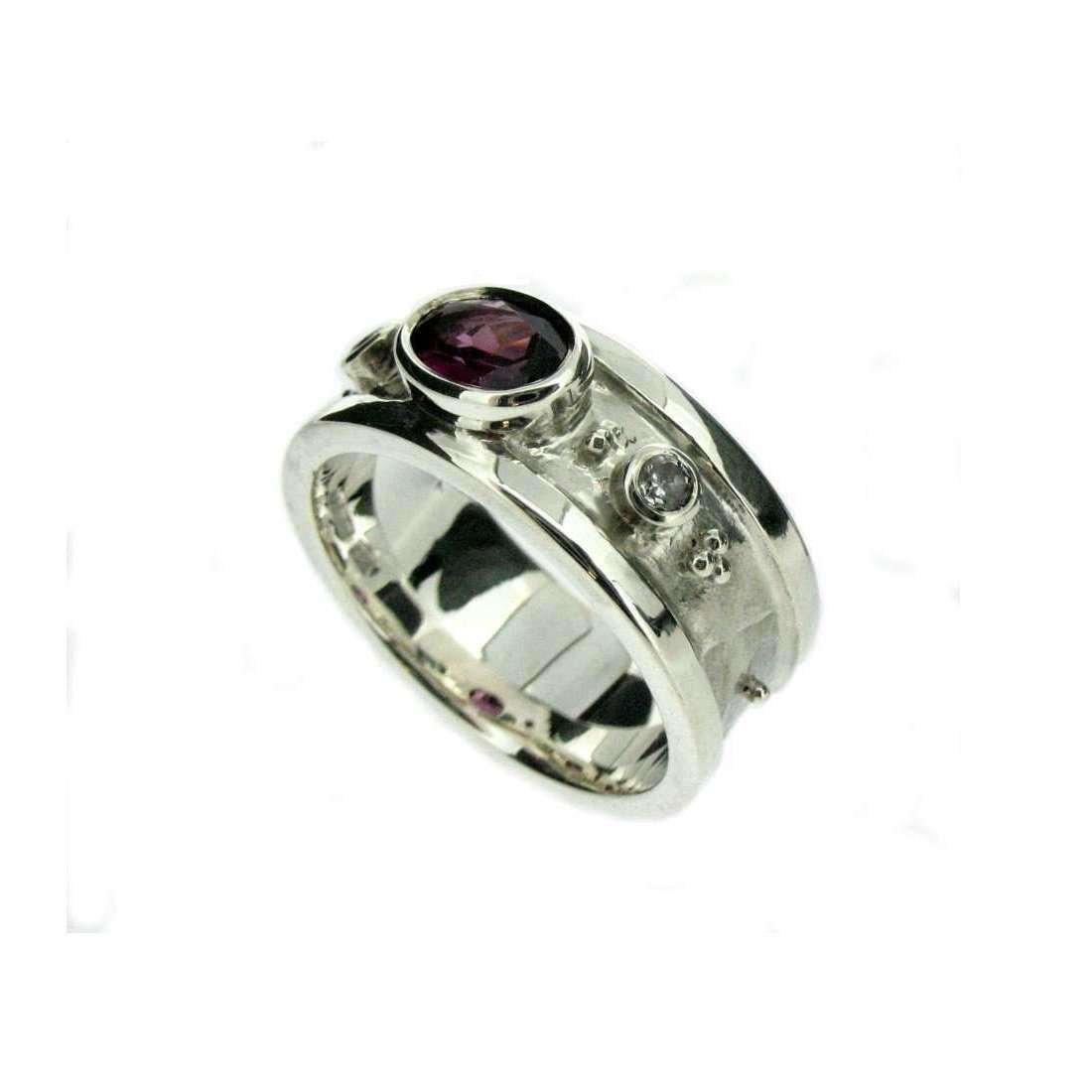White Gold, Garnet & Diamond Ring - Will Bishop