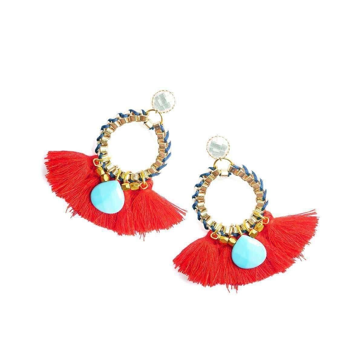 Red Martha Tassel Earrings