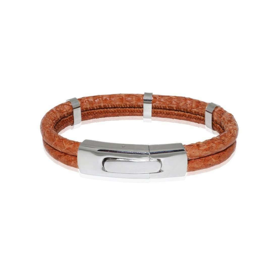 Cognac Atlantic Salmon Leather Stainless Steel Bracelet - Marlin Birna