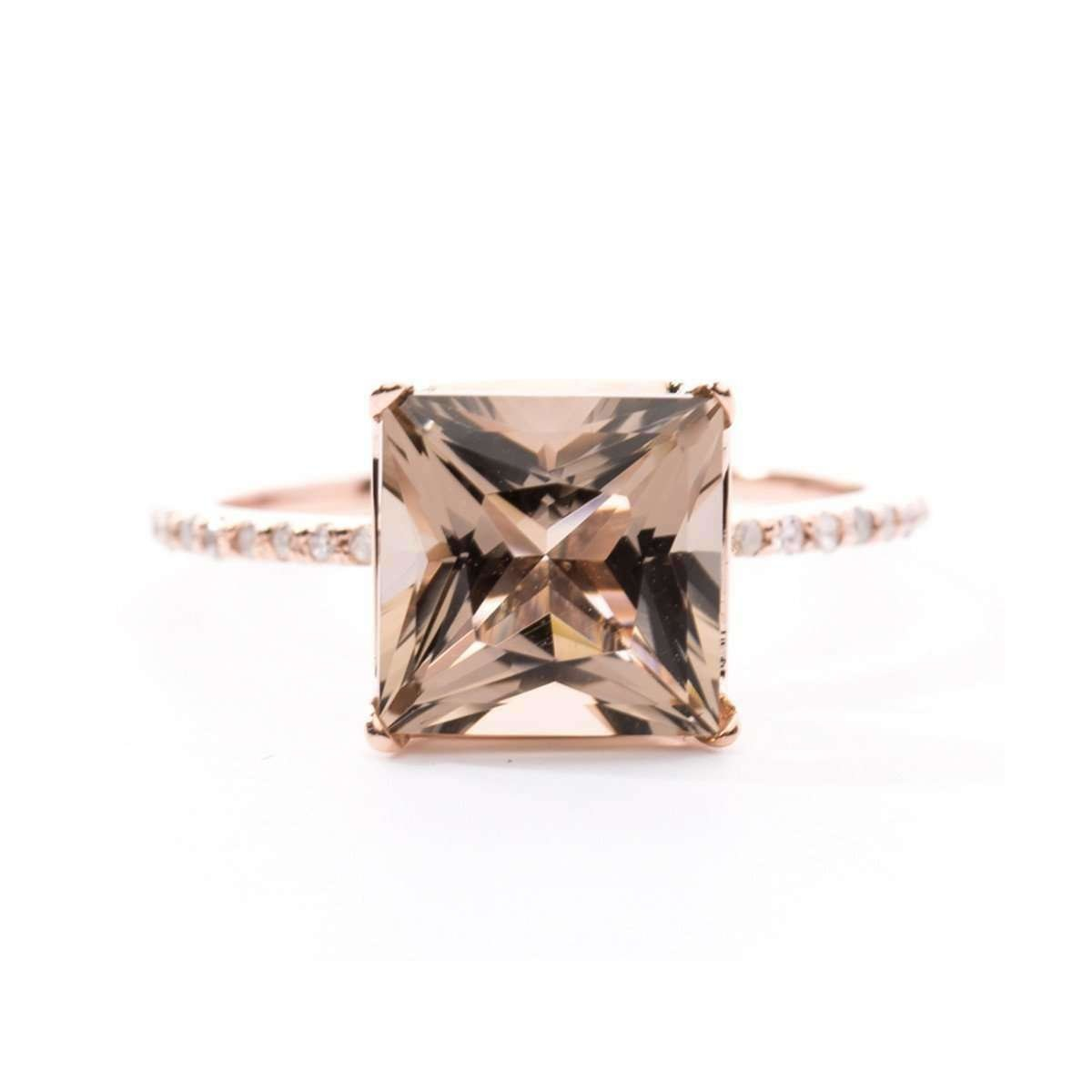 Princess Cut Smoky Quartz Ring - Oh my Christine Jewelry