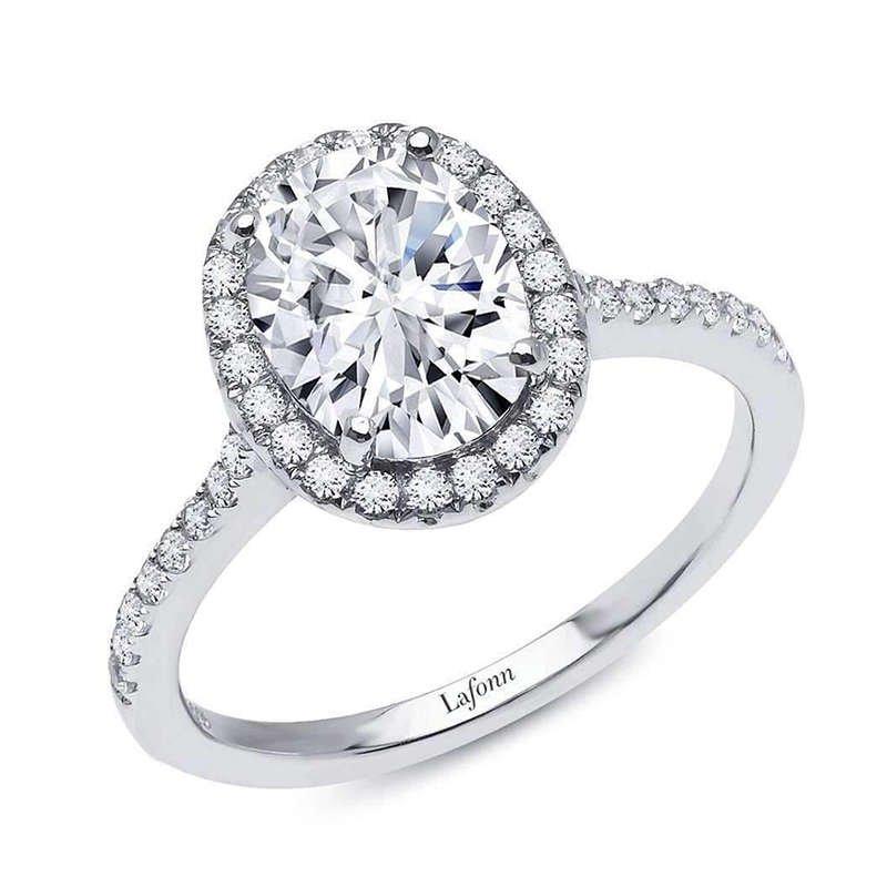 Sterling Silver & Platinum Oval Halo Ring - Laffon