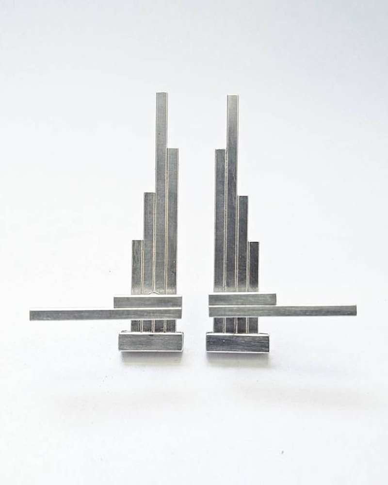 Sterling Silver Double Sided Concord Geometric Earrings, AKA Jewellery