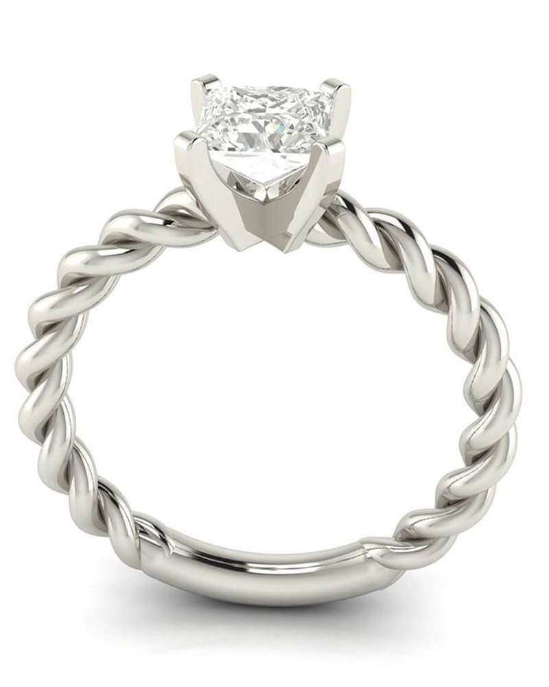 Knot Rope Solitaire Princess Cut Diamond Ring - 5Ine Jewels