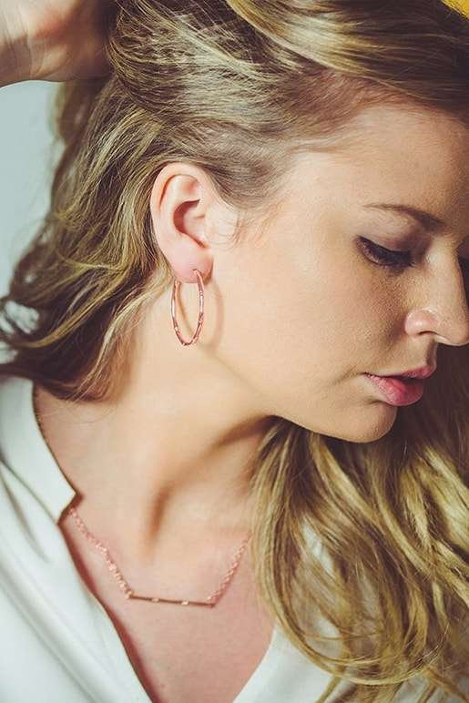 Bamboo Hoop Earrings In Rose Gold Plate, Murkani Jewellery