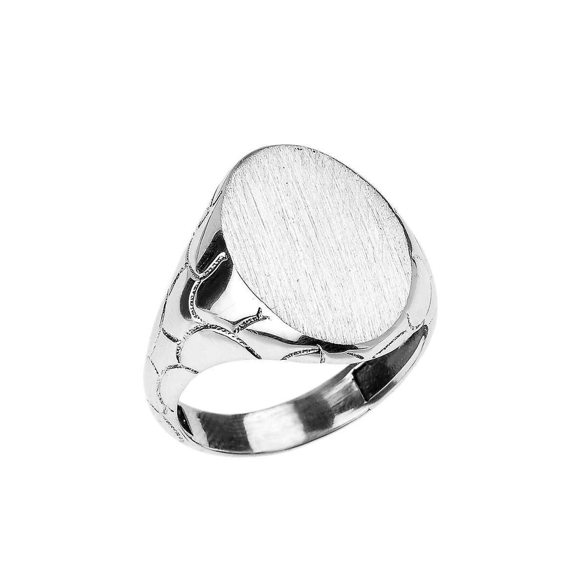Oval Signet Ring In Sterling Silver - 3.6mm