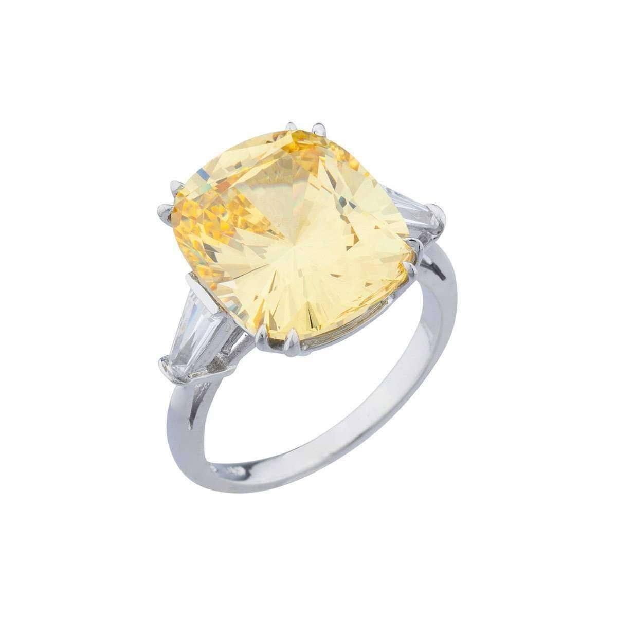 14kt White Gold 11.5ct Canary Cushion Cut Ring - FANTASIA BY DESERIO