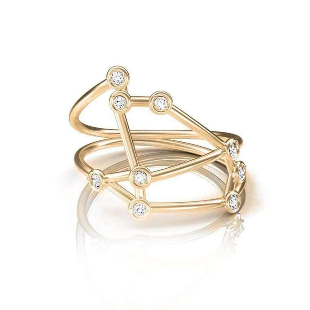 Rose Gold Aries Star Sign Constellation Ring, Jessie V E