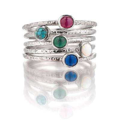 Silver Gemstone Ring Stack - FrillyByLily
