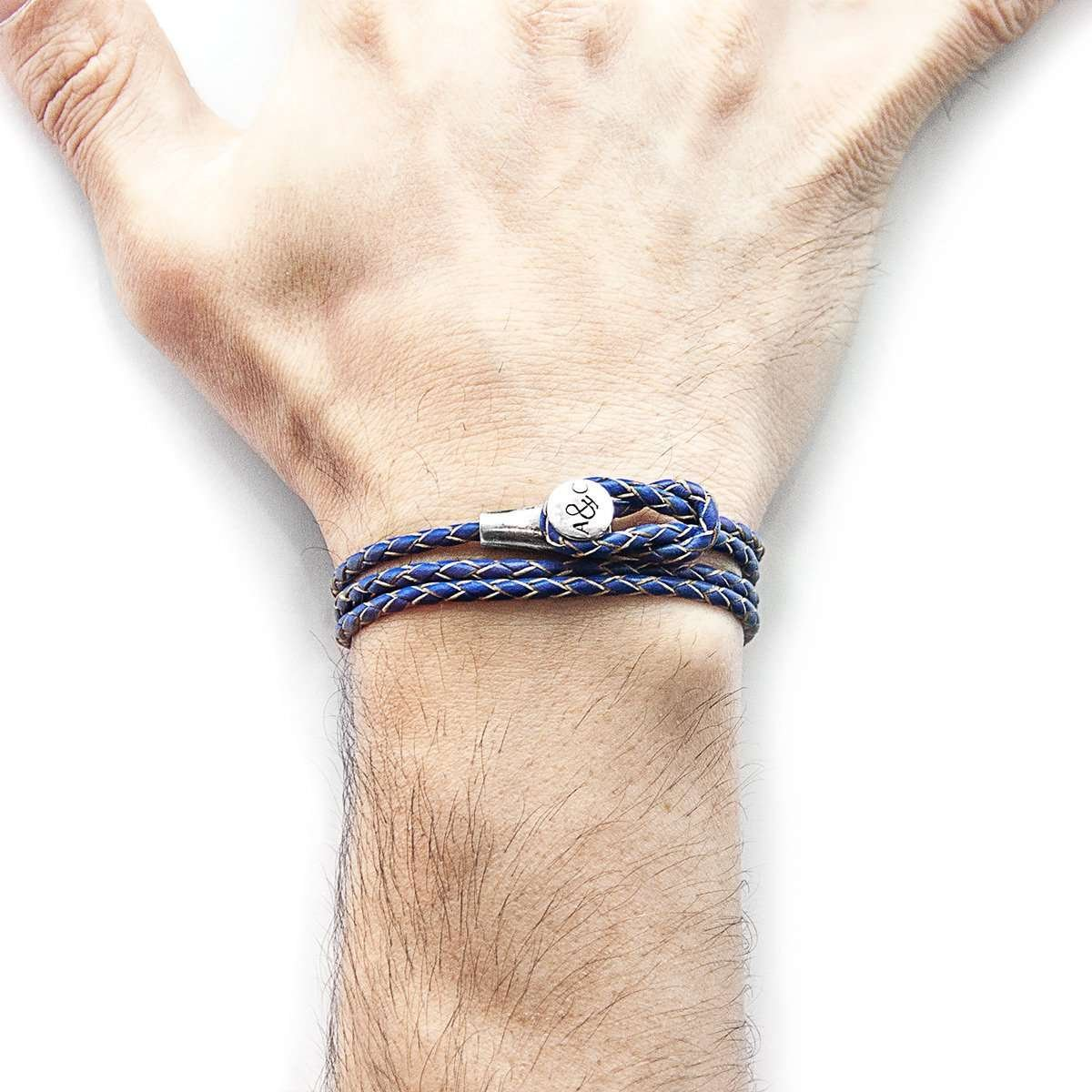 Royal Blue Dundee Silver and Leather Bracelet - Anchor & Crew