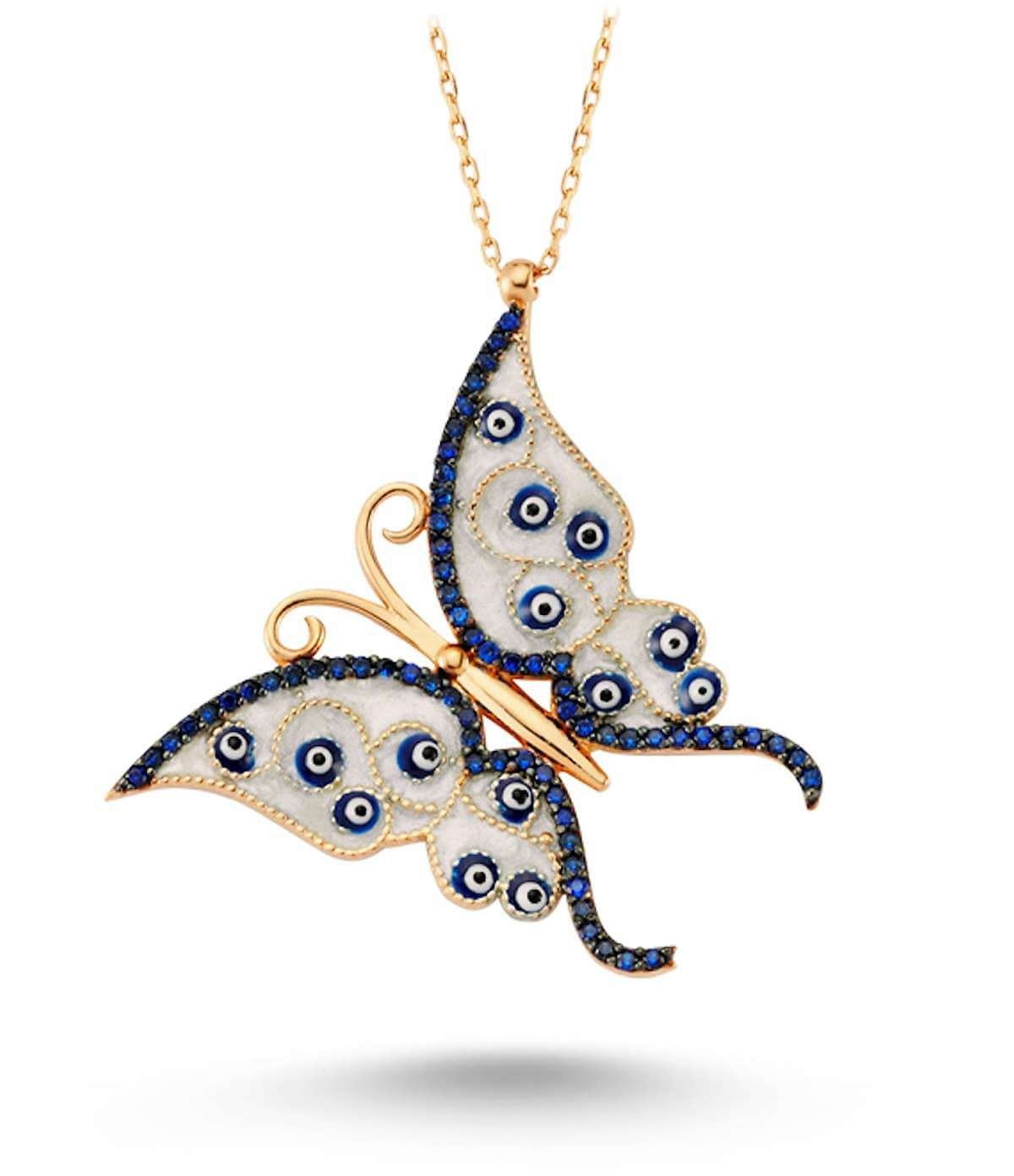 18kt Rose Gold Plated Silver Butterfly Necklace