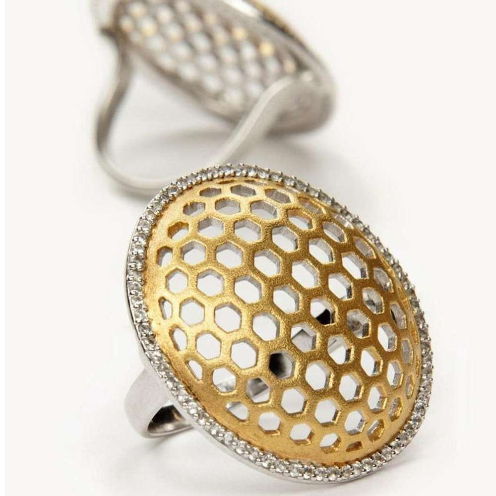 Honeycomb Gold Statement Ring, Gia Belloni