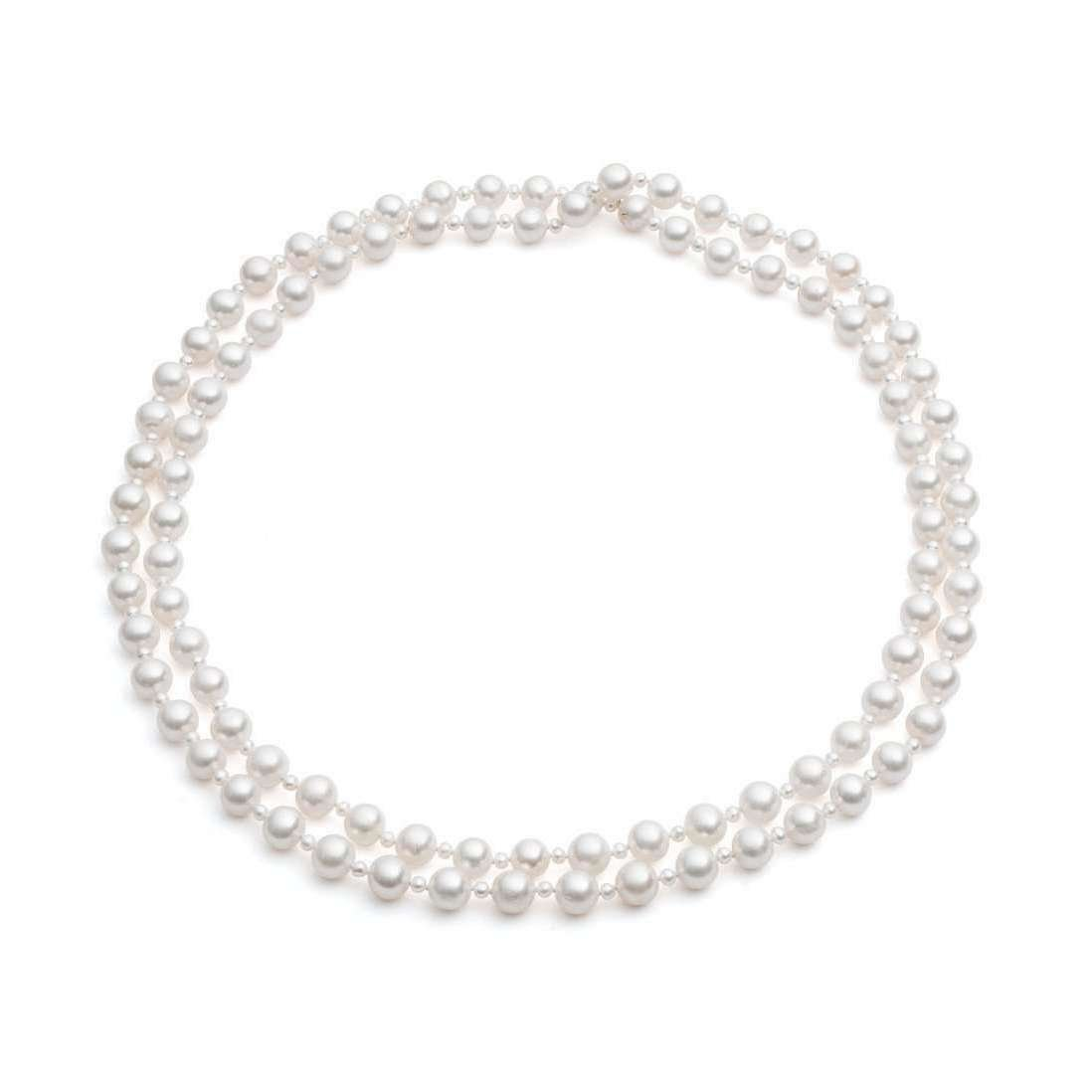 White Cultured Freshwater Pearl Rope Necklace - The Pearl Quarter