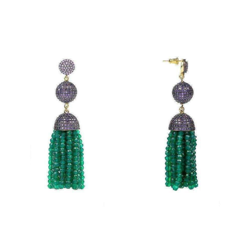 Tassel Ball Earring Green Onyx With Purple Top