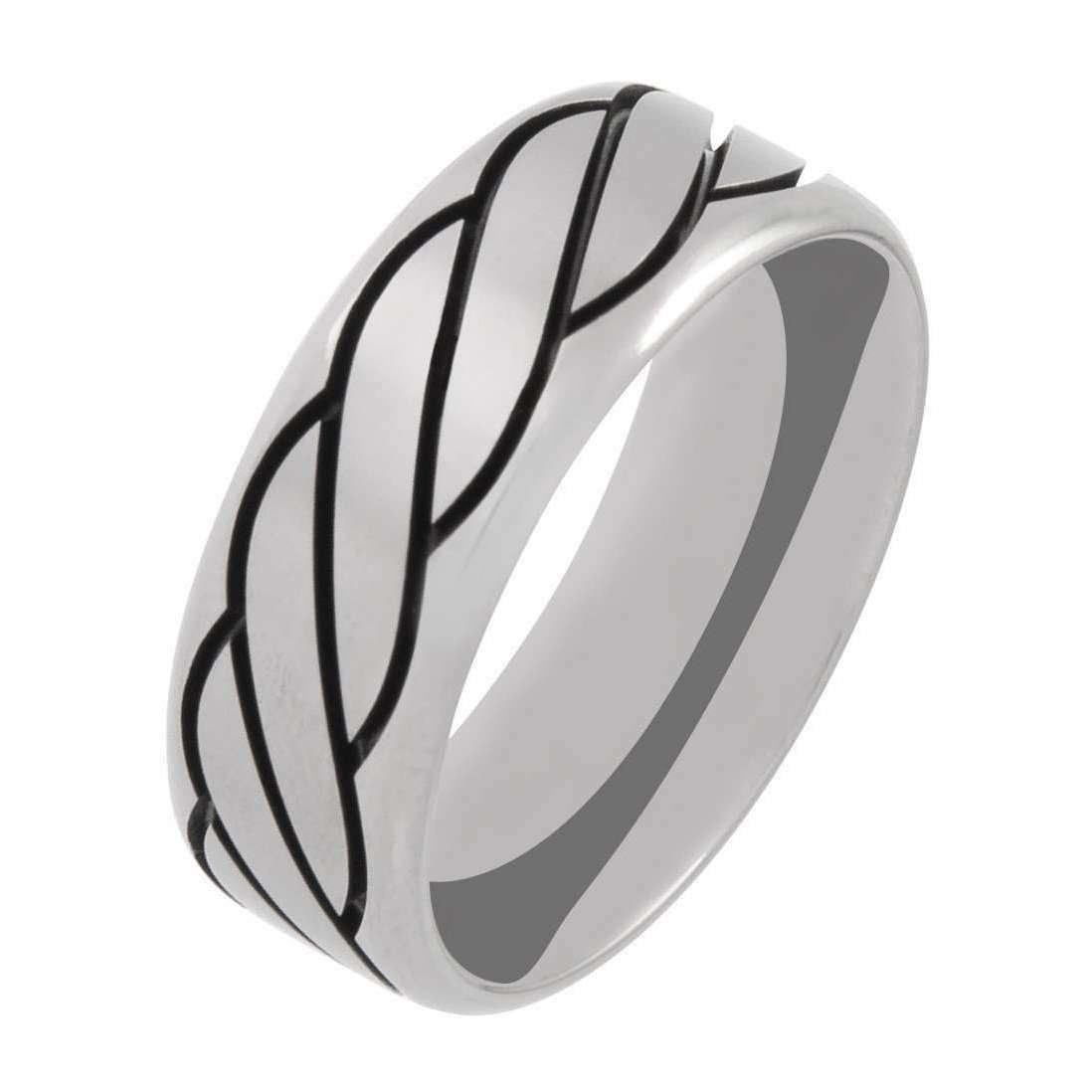 Titanium and Black Rope Ring - Prism Design