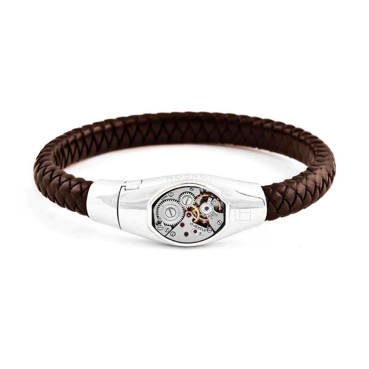 Basel Skeleton Silver Bracelet in Brown - Tatossian