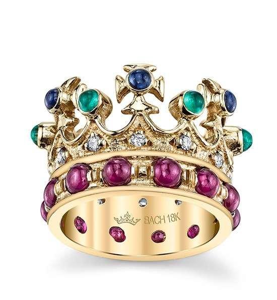 Queen Elizabeth Crown Ring With Multi-colour Gemstones Cynthia Bach