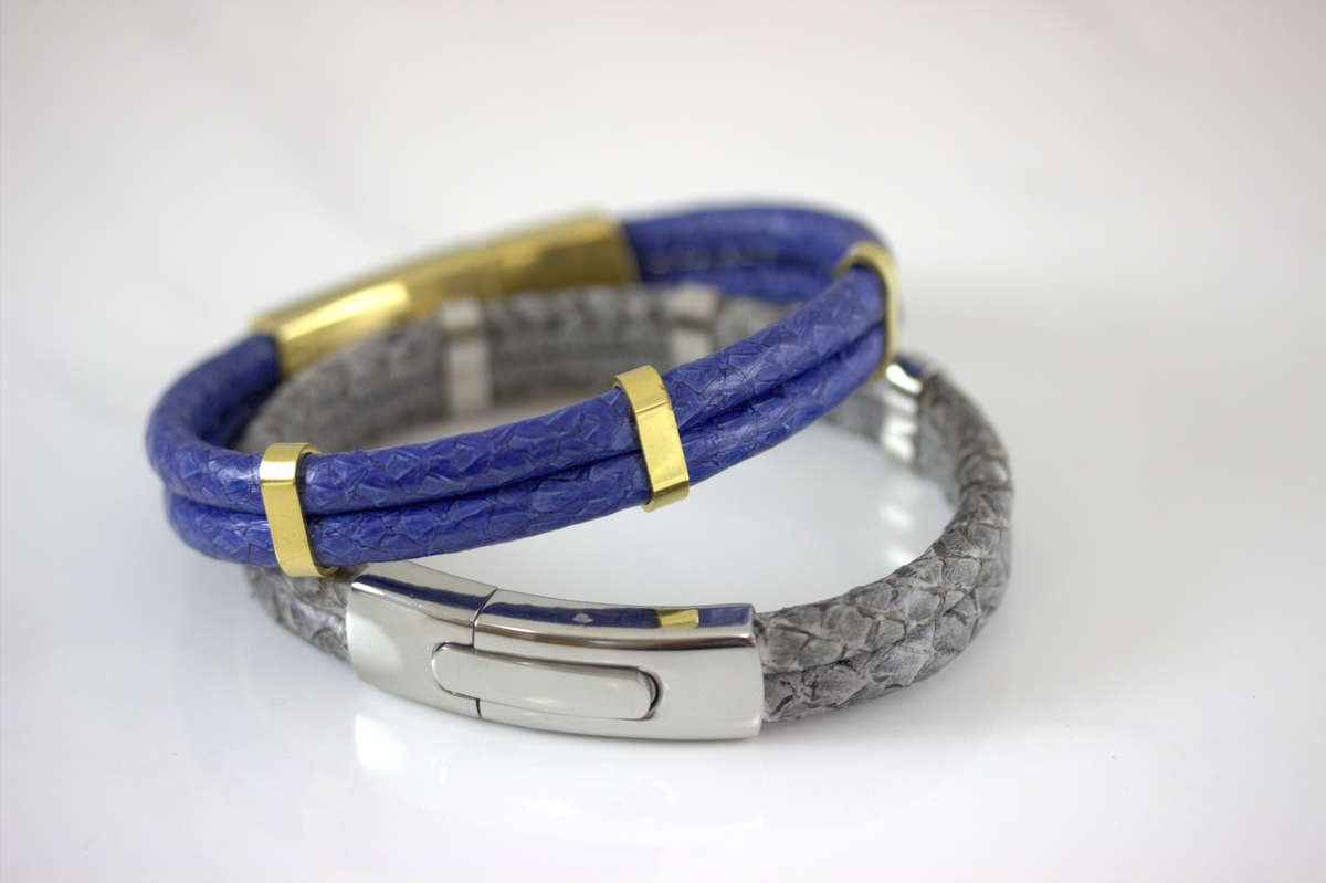 Atlantic Salmon Leather Gold Plated Bracelet -  Marlin Birna
