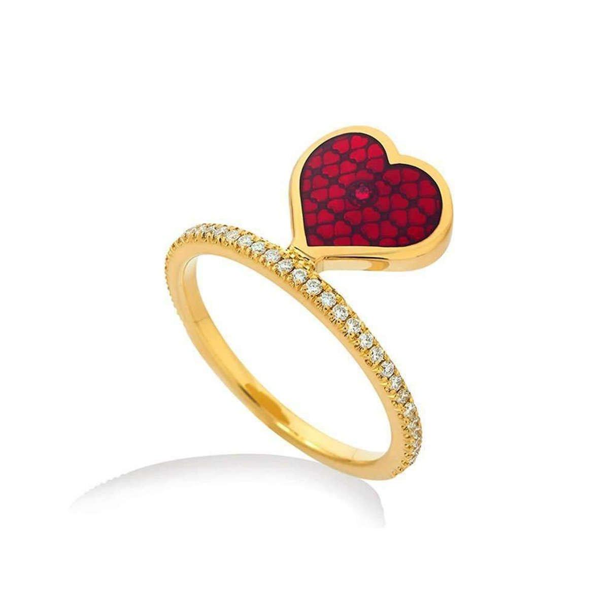 Red Casino Heart Ring - Raliegh Goss