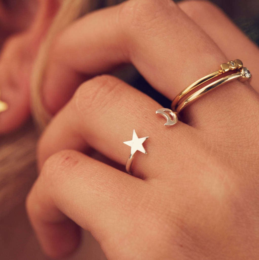 Moon And Star Open Ring Sterling Silver - Posh Totty Designs