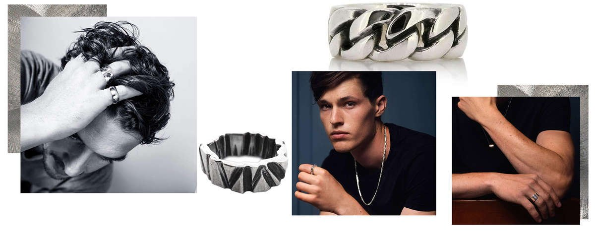 Selection of Men's Sterling Silver Rings from designers on JewelStreet