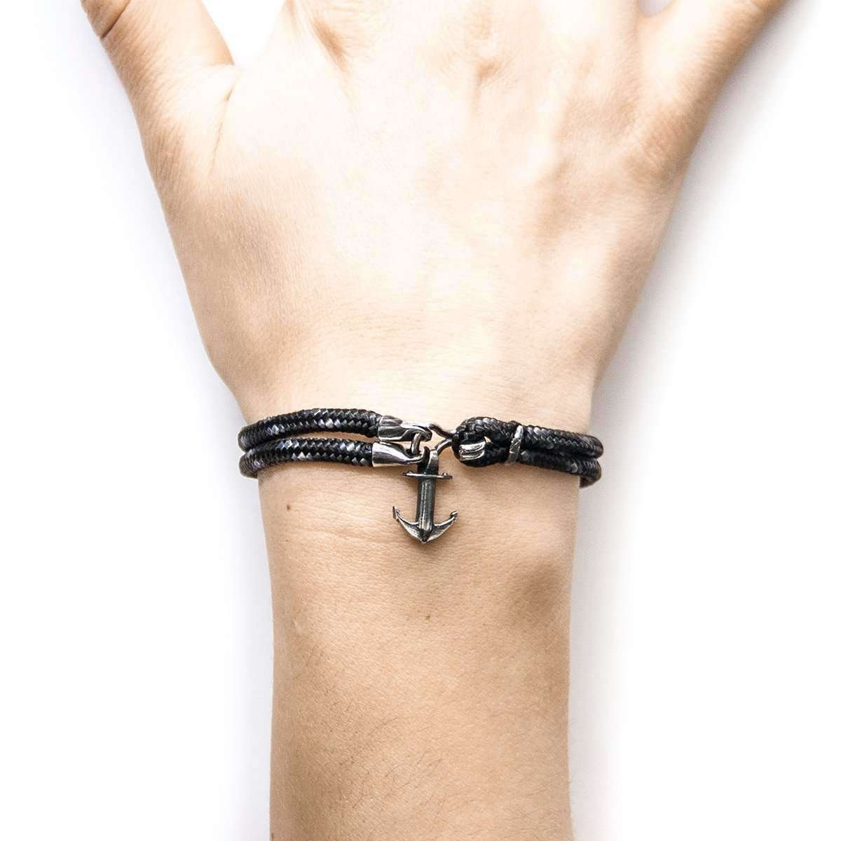 Black Brighton Silver And Rope Bracelet - Anchor & Crew