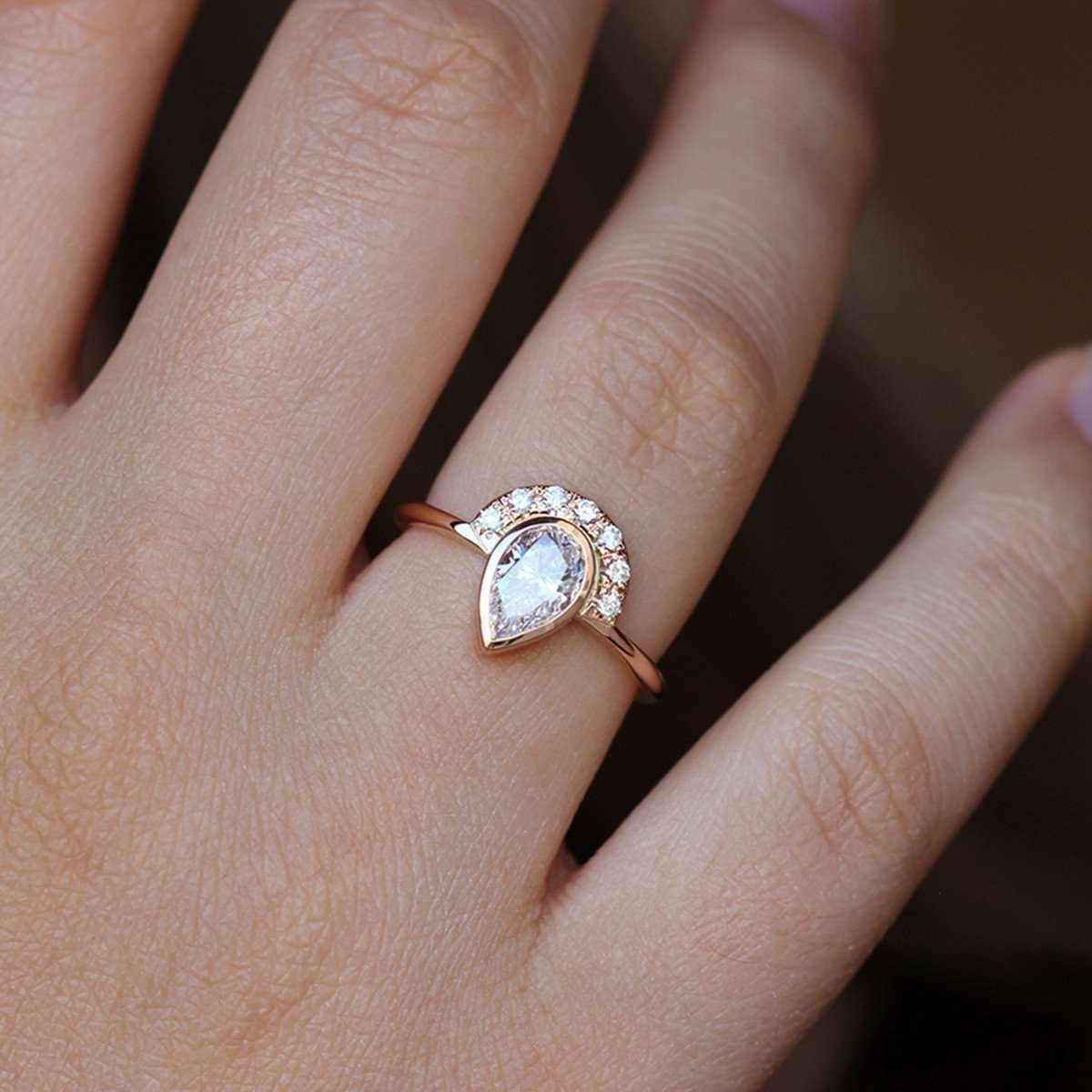 One Carat Pear Diamond Engagement Ring - ARTEMER