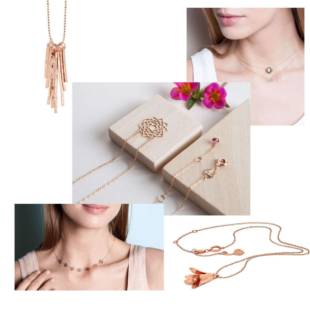 A selection of rose gold necklaces from designers on JewelStreet