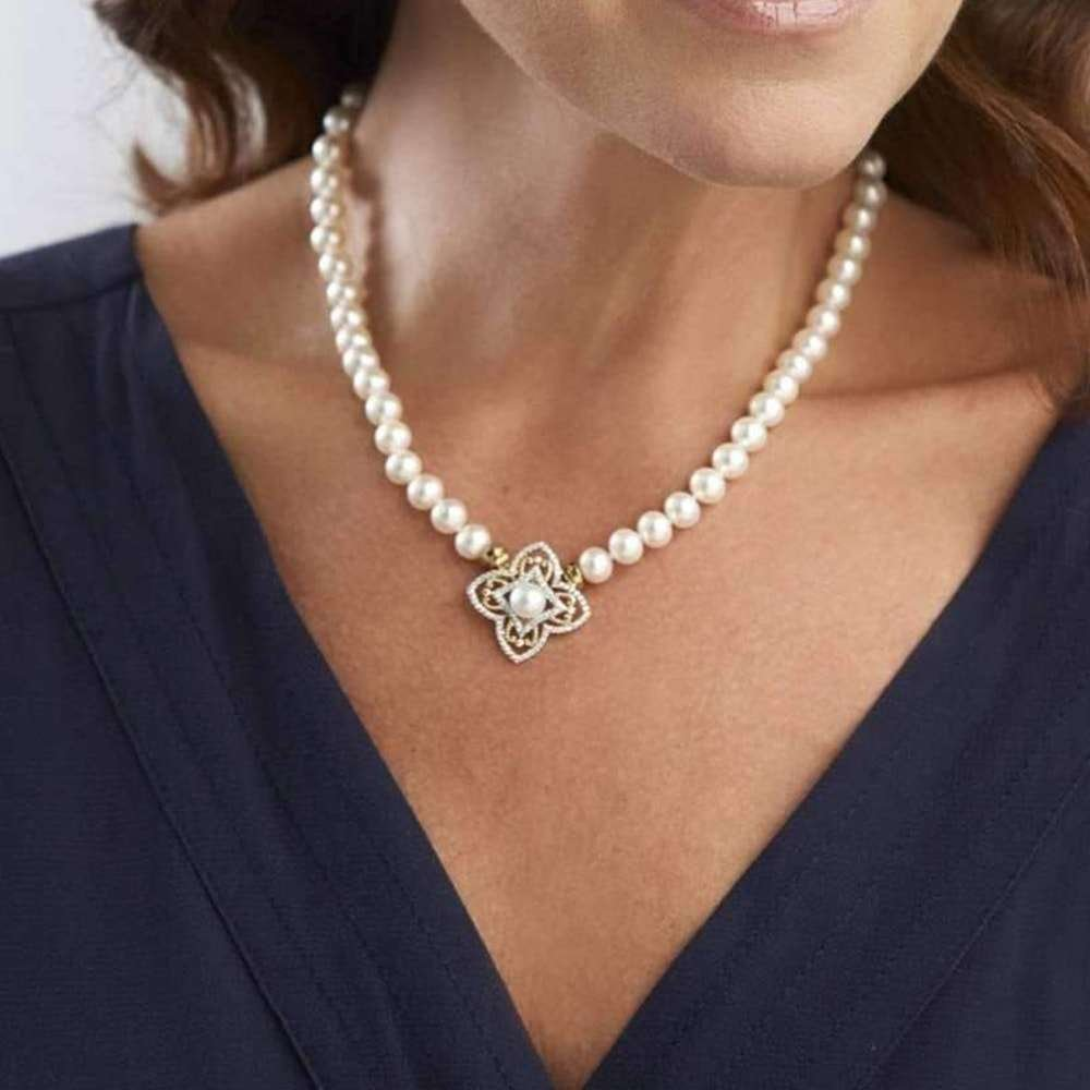 Classic Cultured Pearl Necklace With Pave Clasp, The Pearl Quarter
