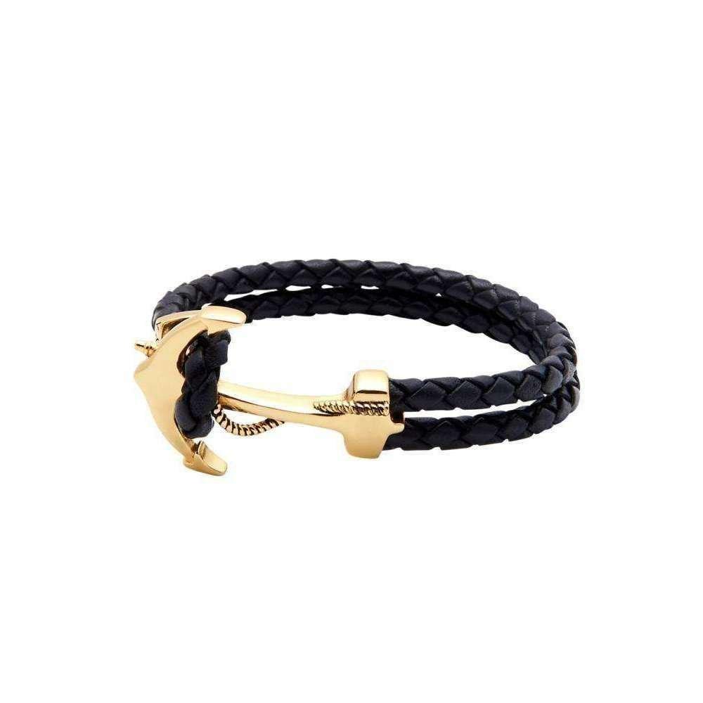 Black Leather Bracelet with Gold Anchor - Nialaya