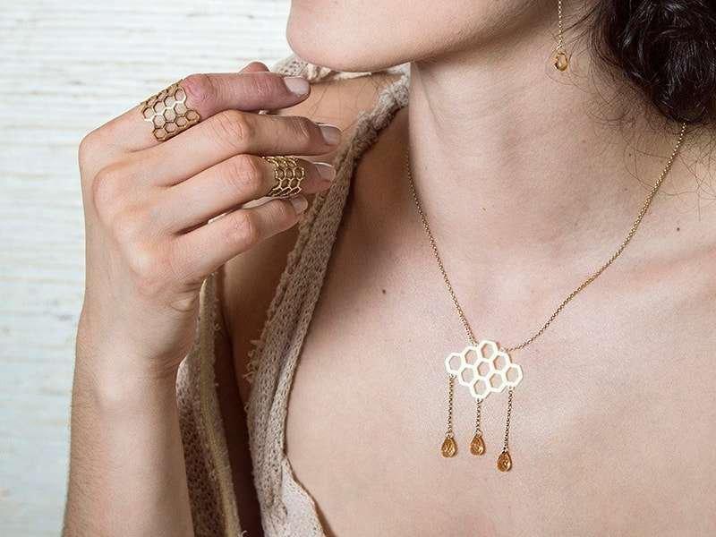 Honeycomb Citrine Necklace, Uma K