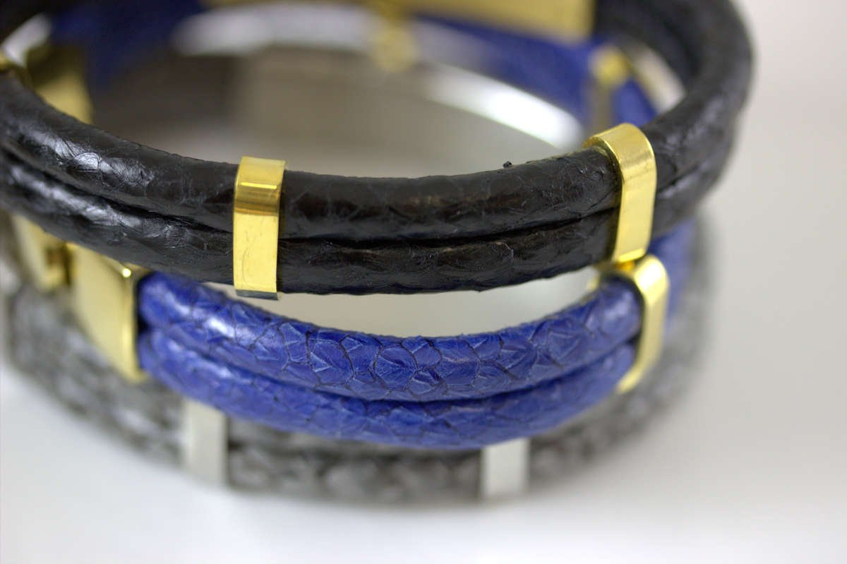 Atlantic Salmon Leather Stainless Steel Bracelet - Marlin Birna