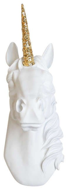 Unicorn Head with Gold Glitter Corn.