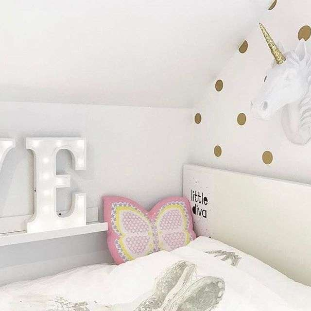 Copyright 2017, Instagram by @JulieHole. Unicorn Head Wall Mount, The Bayer with Gold Glitter in child's room.