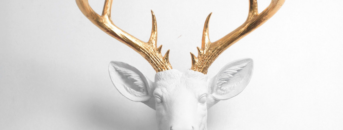 White Deer Head Wall Mount with Gold Antlers by White Faux Taxidermy