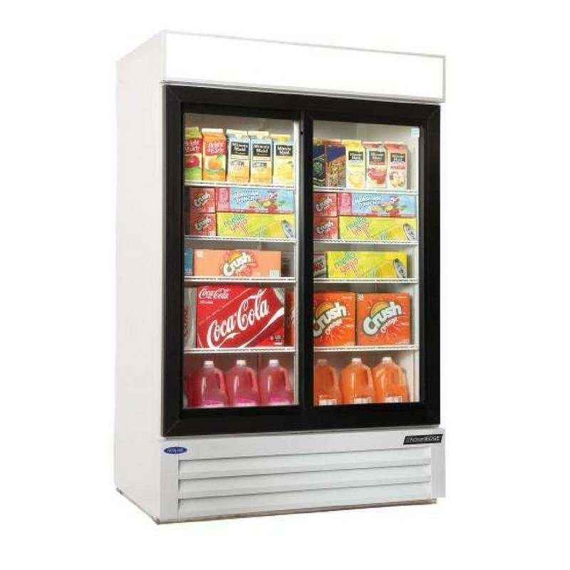 merchandisers, soda cases, frozen food cases, glass door refrigerators
