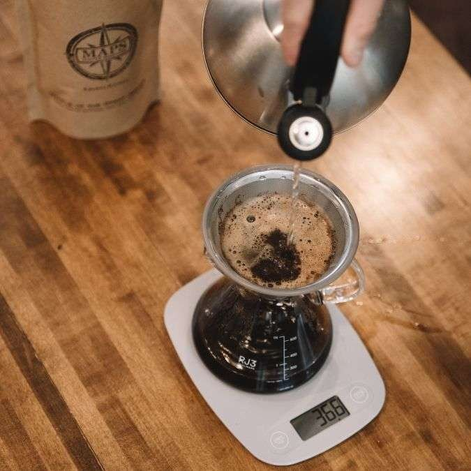 Pour over coffee on a scale
