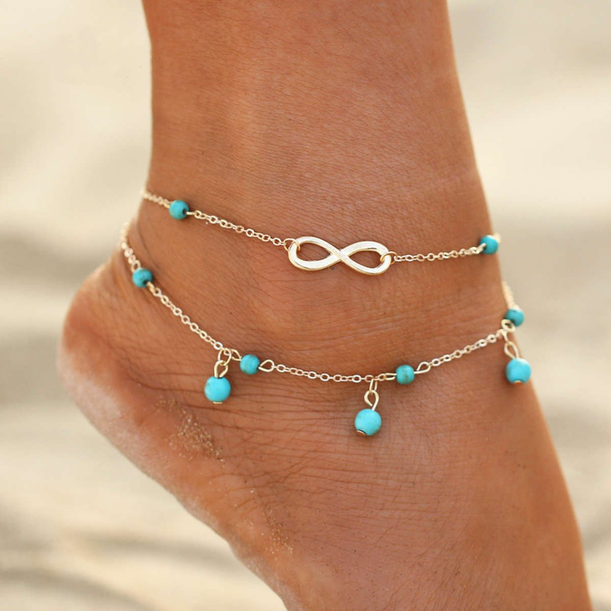 Womens Boho Style Infinity Double Anklet