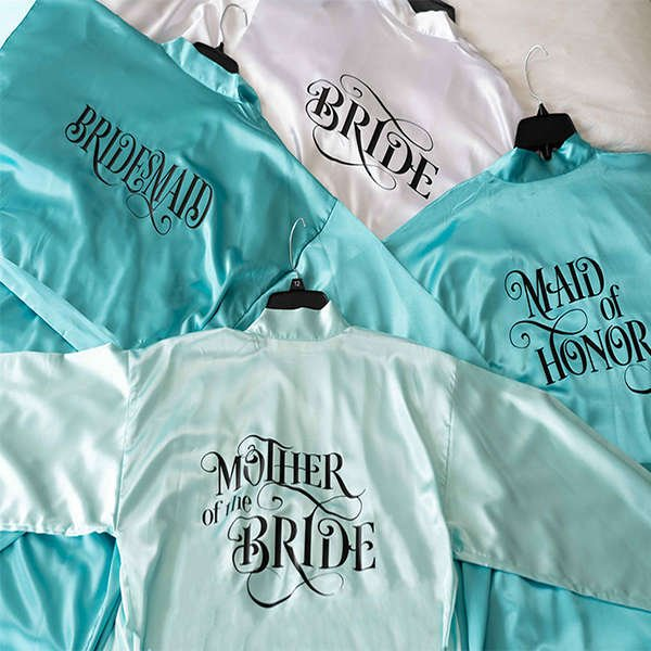 Personalized Satin Bridesmaid Robes with Name and Title