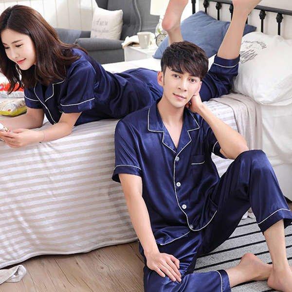 Couples Pajamas, Short Sleeve, Long Pants