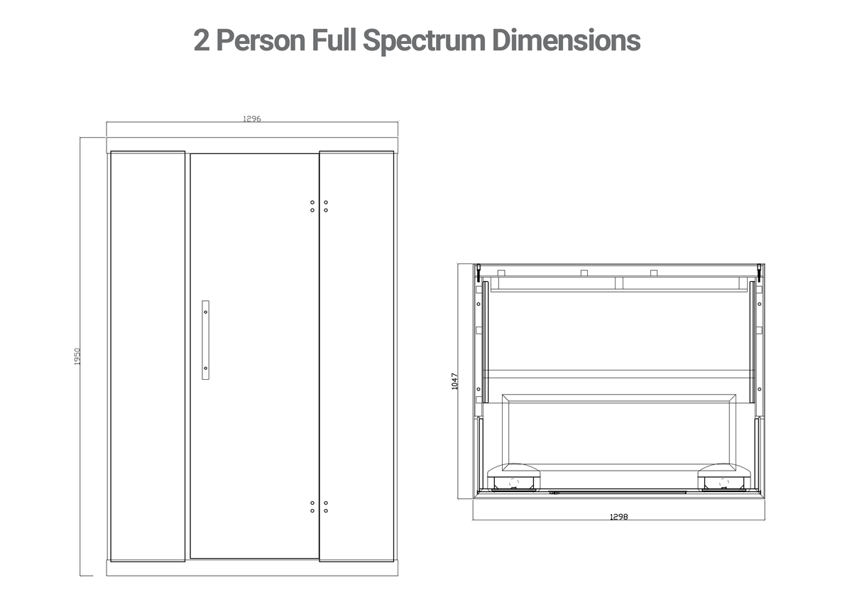 ihealth 2 person full spectrum sauna line drawings