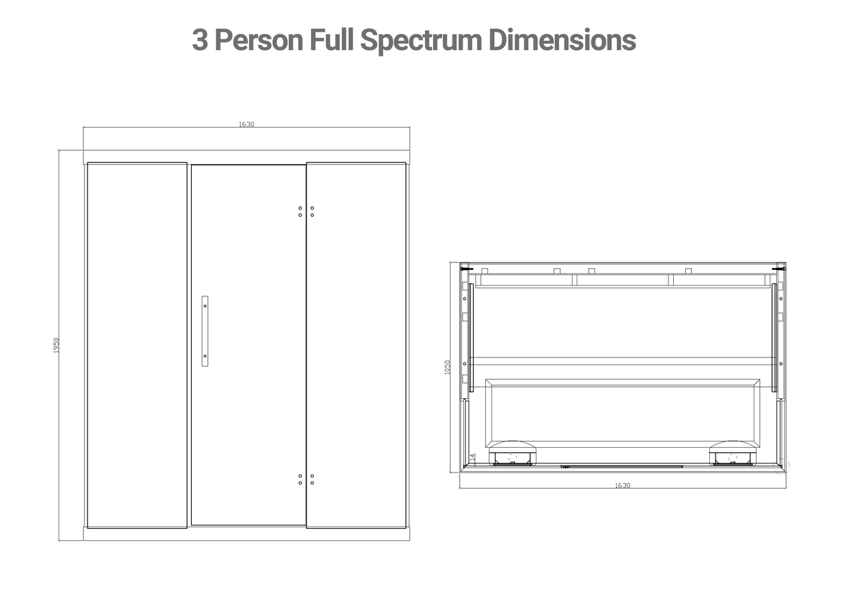 ihealth 3 person full spectrum sauna line drawings