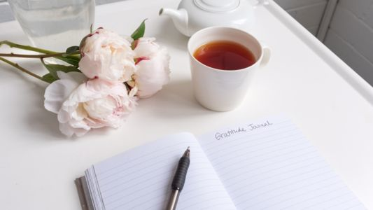 Gratitude Journal with Tea